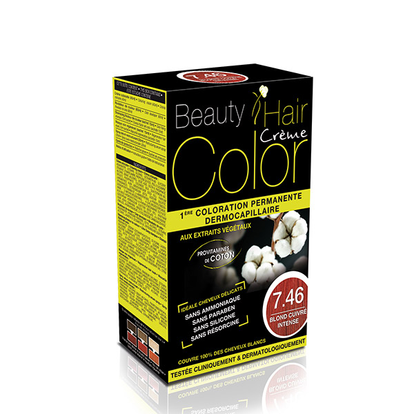 BEAUTY HAIR COLOR vopsea de păr 7.46 Blond roșiatic intens