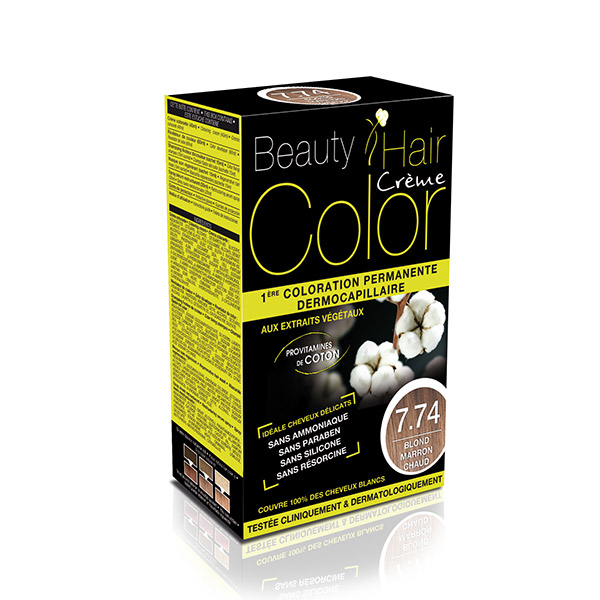 BEAUTY HAIR COLOR vopsea de păr 7.74 Blond Cald