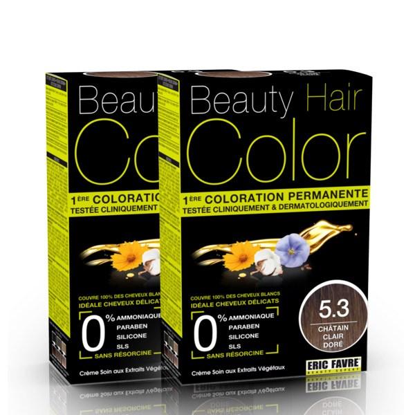 BEAUTY HAIR COLOR vopsea de păr 5.3 Șaten deschis auriu – Pachet păr lung x2