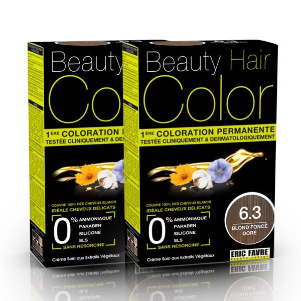 BEAUTY HAIR COLOR vopsea de păr 6.3 Blond închis auriu – Pachet păr lung x2