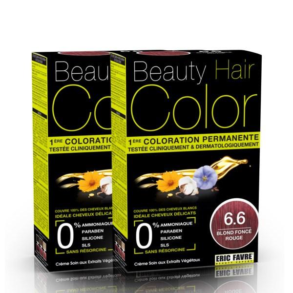 BEAUTY HAIR COLOR vopsea de păr 6.6 Blond Roscat Inchis – Pachet păr lung x2
