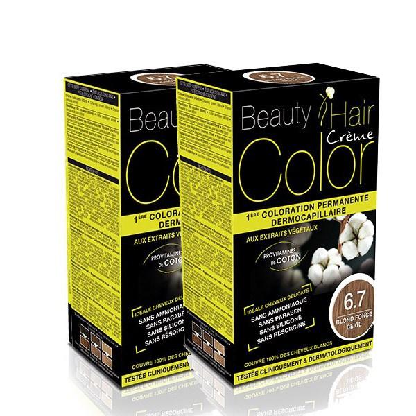 BEAUTY HAIR COLOR vopsea de păr 6.7 Blond închis bej – Pachet păr lung x2