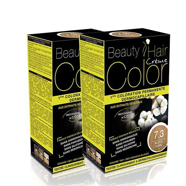 BEAUTY HAIR COLOR vopsea de păr 7.3 Blond Auriu – Pachet păr lung x2