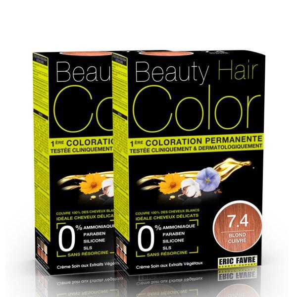 BEAUTY HAIR COLOR vopsea de păr 7.4 Blond Aramiu – Pachet păr lung x2