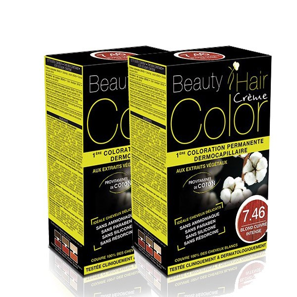 BEAUTY HAIR COLOR vopsea de păr 7.46 Blond roșiatic intens – Pachet păr lung x2