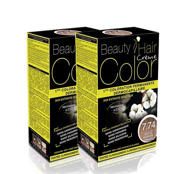 BEAUTY HAIR COLOR vopsea de păr 7.74 Blond Cald – Pachet păr lung x2