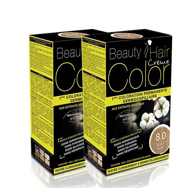 BEAUTY HAIR COLOR vopsea de păr 8 Blond deschis – Pachet păr lung x2