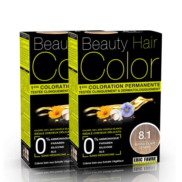 BEAUTY HAIR COLOR vopsea de păr 8.1 Blond Deschis Cenusiu – Pachet păr lung x2