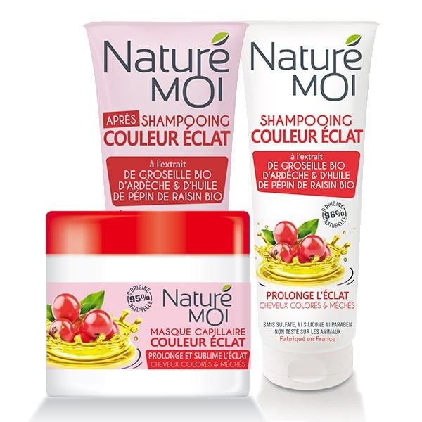 NatureMoi Set Șampon, Balsam și Mască pentru păr vopsit cu extract bio de coacăze de Ardeche și ulei din sâmburi de struguri