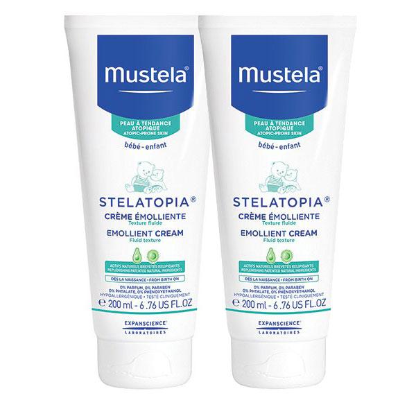 DUO Mustela Stelatopia cremă emolientă pentru pielea cu tendință atopică 2×200 ml