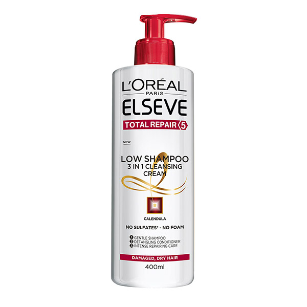 L'Oreal Paris Elseve Low Shampoo Total Repair 5 Sampon ingrijire experta pentru par degradat deteriorat 400ml