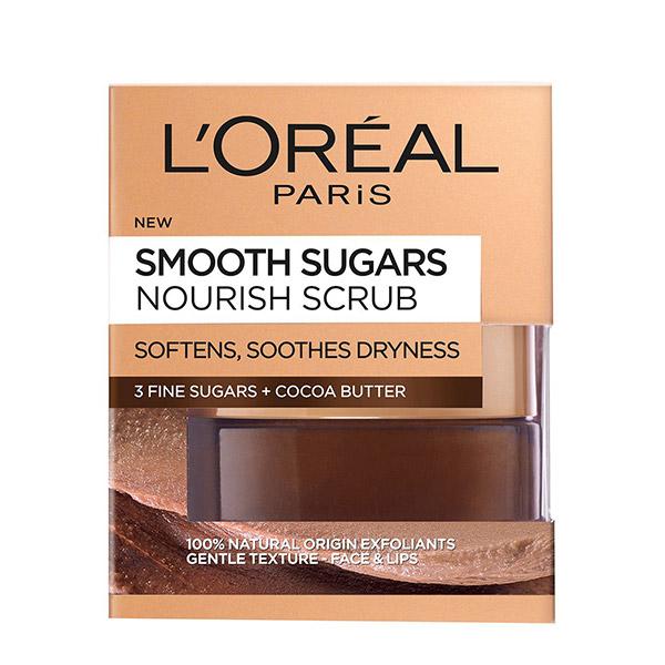 L'Oreal Paris Smooth Sugars Scrub exfoliant cu zahar pentru ten uscat 50ml