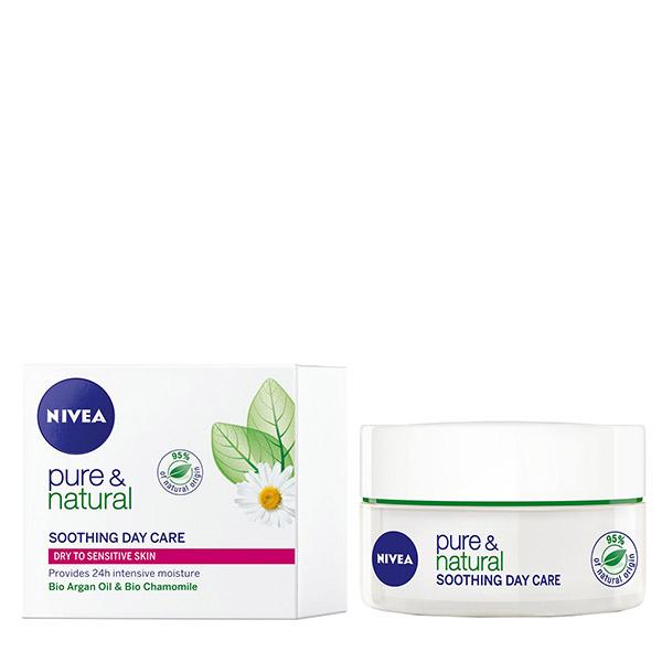 Nivea Pure&Natural Cremă nutritivă de zi pentru ten uscat și sensibil 50ml